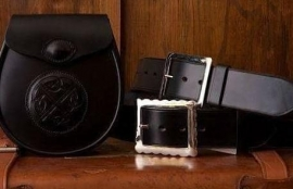 McRostie collection of leather sporrans and kilt belts