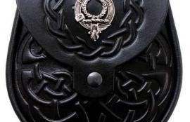 Clan Crest Black Leather Sporran