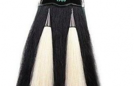 BLACK HORSEHAIR SPORRAN WITH 2 WHITE TASSELS   Great Highland Wear