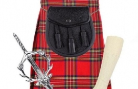 4 PIECE KILT PACKAGE WITH PIN HOSE AND SPORRAN - SIZES 29-54 - ROYAL STEWART